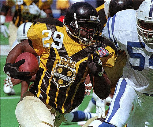 ce1bb8927a2 These Steelers throwbacks worn in 1994 were similar too and just as bad as  the current version. How many of these do you see fans wearing ...